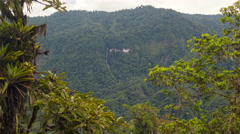 View of a cliff and waterfall in the Quijos Valley in the Ecuadorian Amazon.  Stock Footage