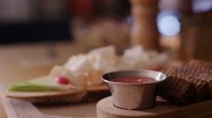 Food fat croutons sauce restaurant Stock Footage