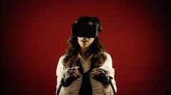 Virtual reality girl emotions amused Stock Footage
