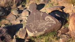 Petroglyph at Three Rivers Petroglyph site in New Mexico, USA. Stock Footage