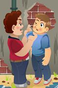 Boy Bullying His Friend - stock illustration