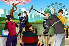 Movie Production Scene - stock illustration