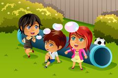 Kids Playing Bubbles - stock illustration