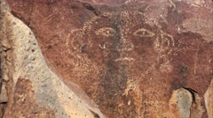Face Petroglyph at Three Rivers Petroglyph site in New Mexico, USA. Stock Footage