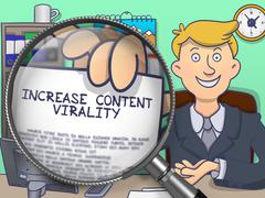 Increase Content Virality through Magnifier. Doodle Concept Stock Illustration