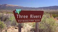 Three Rivers Petroglyph Site Sign in New Mexico Stock Footage