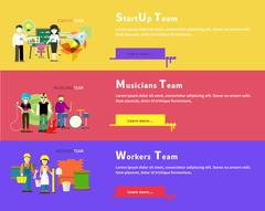 Startup Team. Musicians Group. Workers People - stock illustration