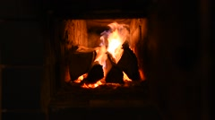 Warm fire burning in the Fireplace - stock footage