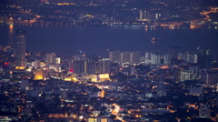 Aerial Timelapse of Penang in Malaysia at Dusk Stock Footage