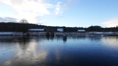 Beautiful River Dee in Winter, Aberdeenshire - Aberdeen Scotland Stock Footage