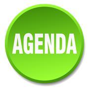 agenda green round flat isolated push button - stock illustration
