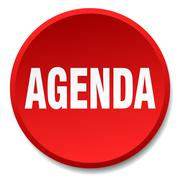 Agenda red round flat isolated push button Stock Illustration
