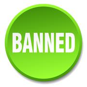 Banned green round flat isolated push button Stock Illustration