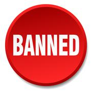 Banned red round flat isolated push button Stock Illustration