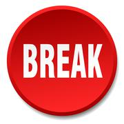 break red round flat isolated push button - stock illustration