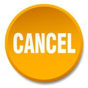 Cancel orange round flat isolated push button Stock Illustration