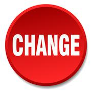 change red round flat isolated push button - stock illustration