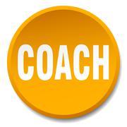 Coach orange round flat isolated push button Stock Illustration