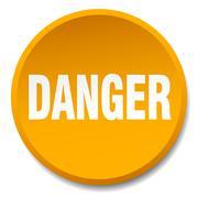 danger orange round flat isolated push button - stock illustration