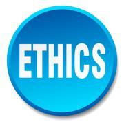 ethics blue round flat isolated push button - stock illustration