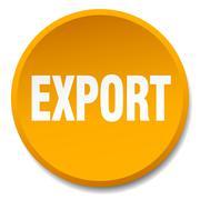 Export orange round flat isolated push button Stock Illustration