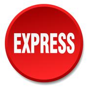 express red round flat isolated push button - stock illustration