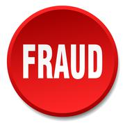 Fraud red round flat isolated push button Stock Illustration