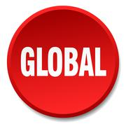 global red round flat isolated push button - stock illustration