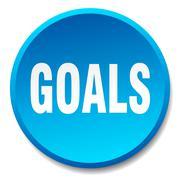 goals blue round flat isolated push button - stock illustration
