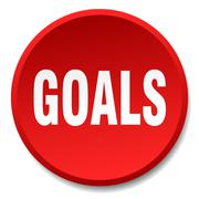 goals red round flat isolated push button - stock illustration