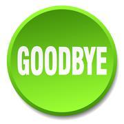 goodbye green round flat isolated push button - stock illustration
