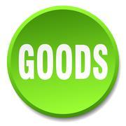 goods green round flat isolated push button - stock illustration