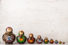 Matreshka set on the white scratched background Stock Photos