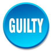 guilty blue round flat isolated push button - stock illustration