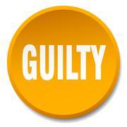 Guilty orange round flat isolated push button Stock Illustration