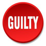 Guilty red round flat isolated push button Stock Illustration