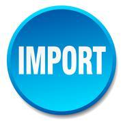 Import blue round flat isolated push button Stock Illustration