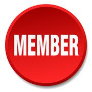 member red round flat isolated push button - stock illustration