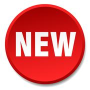 new red round flat isolated push button - stock illustration
