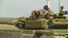 Military heavy tank on field at training Stock Footage
