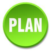 plan green round flat isolated push button - stock illustration