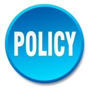 policy blue round flat isolated push button - stock illustration