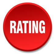 rating red round flat isolated push button - stock illustration