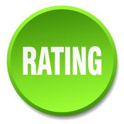 Rating green round flat isolated push button Stock Illustration