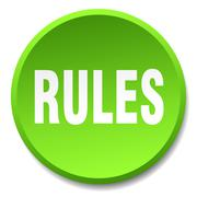 rules green round flat isolated push button - stock illustration