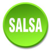 salsa green round flat isolated push button - stock illustration