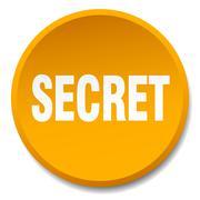secret orange round flat isolated push button - stock illustration