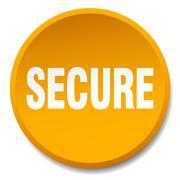 secure orange round flat isolated push button - stock illustration