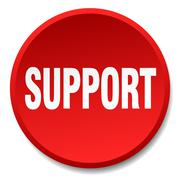 support red round flat isolated push button - stock illustration