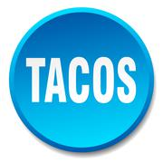tacos blue round flat isolated push button - stock illustration